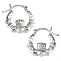 Sterling Silver Claddagh Hoop Earrings, Small