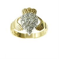 14k Yellow Gold Diamond Set Claddagh Ring