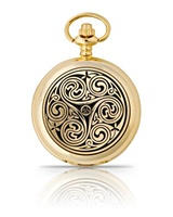 Gold Plated Triple Swirl Pocket Watch (4)