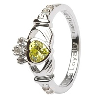 Silver Claddagh Birthstone Rings August (2)