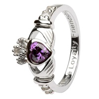 Silver Claddagh Birthstone Rings February