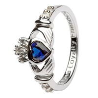 Silver Claddagh Birthstone Rings, September (3)