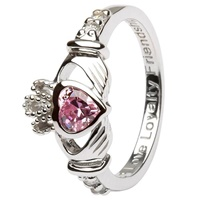Silver Claddagh Birthstone Rings, October (3)