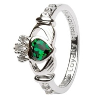 Silver Claddagh Birthstone Rings May (3)