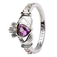 Silver Claddagh Birthstone Rings, June (3)