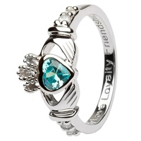 Silver Claddagh Birthstone Rings, March
