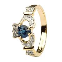 Ladies 14K Yellow Gold Claddagh With Sapphire and