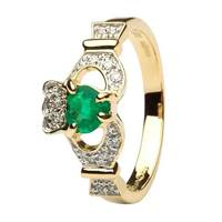 Ladies 14K Yellow Gold Claddagh With Emerald And D