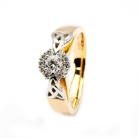 14K Two Toned Gold Diamond Cluster Engagement Trin