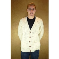 Hand Knitted Irish V-Neck Cardigan Sweater, 46