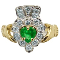 14k Yellow Gold Emerald and Diamond Claddagh Ring