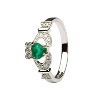 Ladies 14K White Gold Claddagh With Emerald And Di
