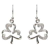 Pave Set Sterling Silver Shamrock Earrings (2)