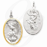Saint Michael Two Toned Large Pendant (2)