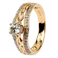 14k Gold Diamond Celtic Ring