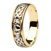 14kt Two Tone Wedding Ring with Celtic Knotwork (2