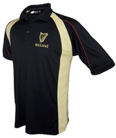 Breathable Black and Cream Harp Polo Shirt (2)