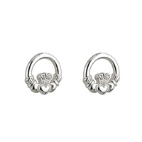 Kids Silver Claddagh Post Earrings