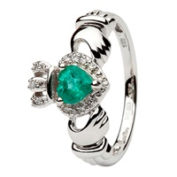 14K White Gold Claddagh With Emerald And Diamond (