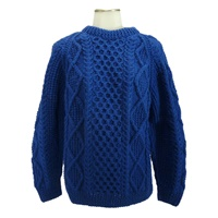 Hand Knitted Irish Crew Neck Pullover Sweater Brig