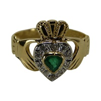 Facet 14kt Yellow Gold Diamond and Emerald Claddag