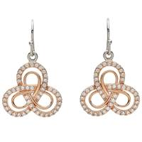 Shanore Sterling Silver CZ Rose Gold Plate Trinity Earrings (2)