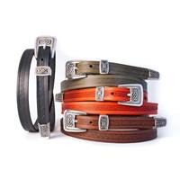 Lee River Leather Meabh Narrow Belt, Moss (4)