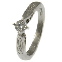 14ct Trinity Solitaire Diamond Ring