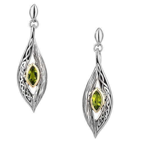 Keith Jack Elven Eternity Knot and Bark Peridot Earrings at