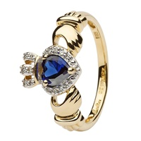 14K Empress Claddagh With Sapphire And Diamond (2)