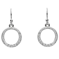 9f67b36f1 Silver Circle Earrings Embellished with White Swarovski Crystal