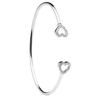 Sterling Silver Swarovski ST60 Heart Bangle (2)