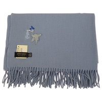 100% Lambswool John Hanly Baby Blanket, Blue Stork (3)