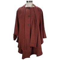 Ladies Long Cape, Red Rust (2)