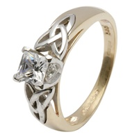 Celtic Engagement Ring - Princess Cut Solitarie Di