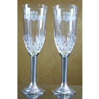 Crystal and Pewter Claddagh Flutes