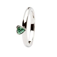 Taras Diary Claddagh Heart Green CZ Stacking Ring