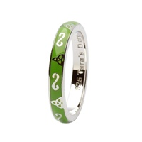 Taras Diary Trinity Green Enamel Stacking Ring