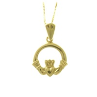 14K Yellow Gold Claddagh Pendant, Small