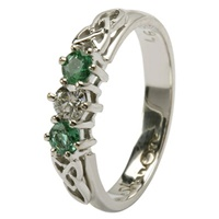 Celtic Engagement Ring - 3 stone Emerald and Diamo