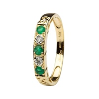 I Love You Eternity Ring, Yellow Gold Emerald and