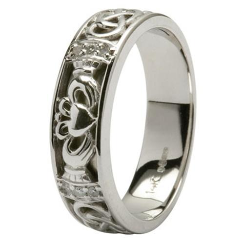 Wedding Rings Ireland Cheap: Platinum Diamond Claddagh Celtic Wedding Ring At EIrish.com