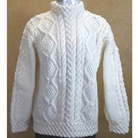 Hand Knitted Irish Celtic Weave Wool Pull Over Swe