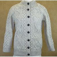 Hand Knitted Irish Cardigan Wool Sweater - Oatmeal