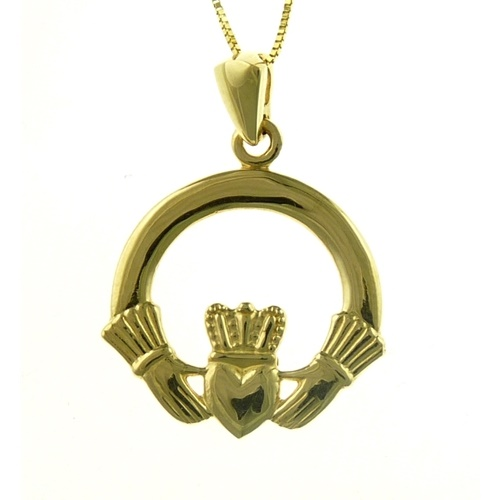 Image for 14K Yellow Gold Claddagh Pendant, Large