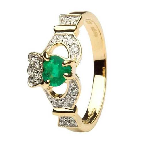 Image for Ladies 14K Yellow Gold Claddagh With Emerald And Diamond