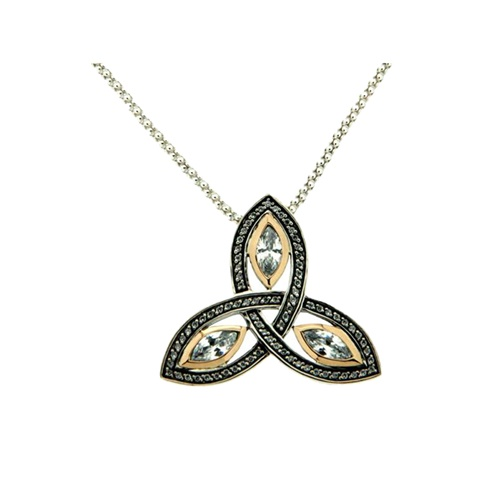10K Yellow Gold and Sterling Silver CZ Trinity Knot Pendant