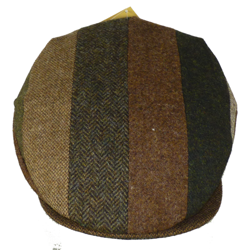 Hanna Hat Striped Tweed Patchwork Vintage Cap, Brown