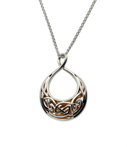 Keith Jack Celtic Window To The Soul Pendant Teardrop Oval Sterling Silver and 24K Gold