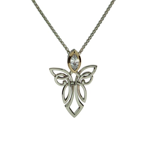 Keith Jack Guardian Angels Sterling Silver Necklace 10k Yellow Gold  White Cubic Zirconia